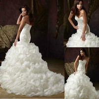 Sweetheart Ball Gowns Ruffled Mermaid Wedding Dresses with Pearls Beading