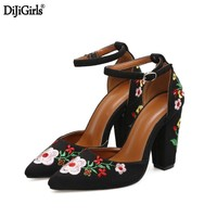 Chaussure Femme Talon Womens Heels Vintage Style Embroider Flower Shoes Woman Wedding Shoes Ladies Party Dress Shoes