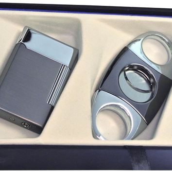 Visol Gunmetal Pyxis Lighter and Darth Cigar Cutter Gift Set