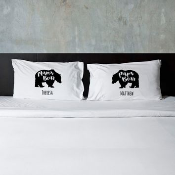 Couples Pillow Case Set- Mama Bear Papa Bear Personalized Free