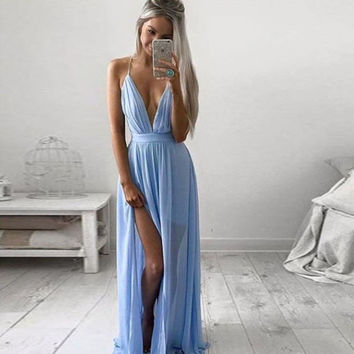 Deep V Spaghetti Strap Split Irregular Prom Dress One Piece Dress