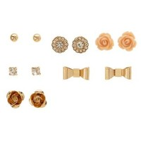Gold Rose & Bow Stud Earrings - 6 Pack by Charlotte Russe