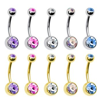 BodyJ4You Belly Button Ring Lot of 10 Pieces Double Gem 5 Goldtone 5 Steel Piercing Jewelry