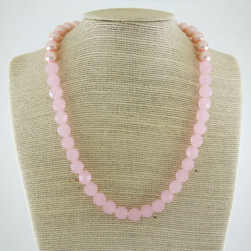 Frosted Pink Beaded Necklace