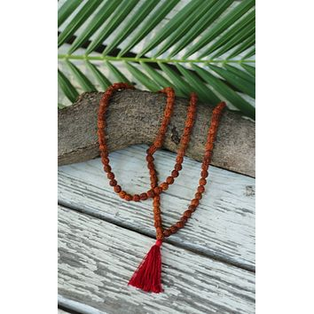 Rudraksha Buddhist Mala Beads Necklace with Red Tassels