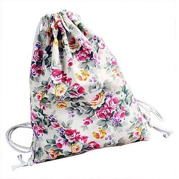 Womens Floral Canvas Backpack Fashion School bags Drawstring Backpack Bags White