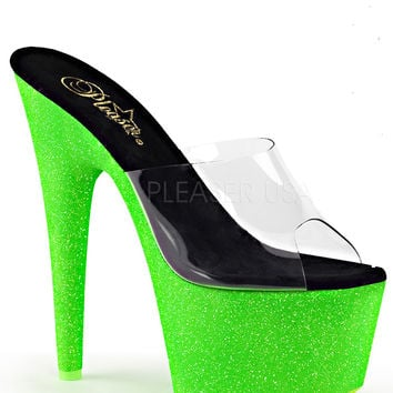 Neon Green Slide Sandle With 7 Inch Heels-Rave Shoes