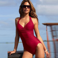 Halter Neck One-Piece Bodysuit