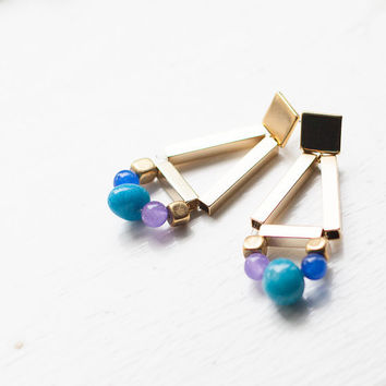 Gold geometric gemstones blue earrings. Beaded colorful studs posts Elegant simple everyday / free shipping/ rusteam