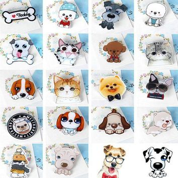 ac PEAPO2Q Fashion Hot Funny Charm Cute Cartoon 1pcs Animal Husky Pet Acrylic Collar Pins Badge Corsage Acrylic Badge Cute Cat Dog Broches