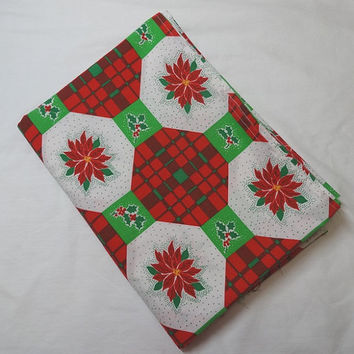 1980s Vintage Christmas Tablecloth or Fabric with Poinsettias, Holly, & Plaid Octagon Design, 49 x 72 Inches, Unfinished Edges, Xmas Decor