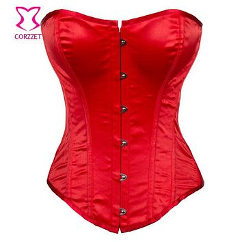 Simple and Sexy Satin Red Corset Overbust Gothic Bustier Crop Top Bodice Korsett For Women Corselet Corpetes E Espartilhos
