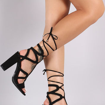 Strappy Lace Up Open Toe Chunky Heel