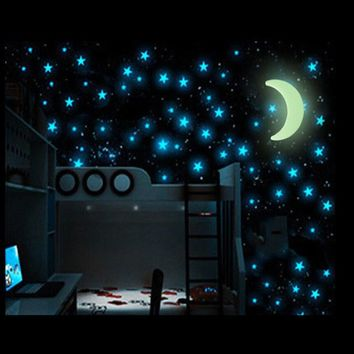 100pcs Stars with 1 pcs Moon Glow Wall Stickers Night Star Room Decal for Baby Kids Bedroom Home Luminous Fluorescent D