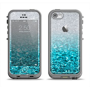 The Turquoise & Silver Glimmer Fade Apple iPhone 5c LifeProof Fre Case Skin Set