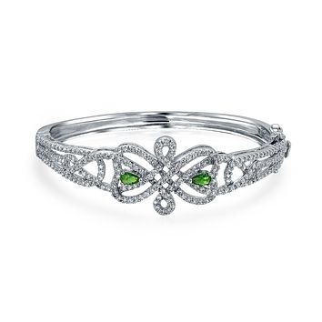 Celtic Love Knot Bangle Bracelet White Pave Green CZ Silver Plated