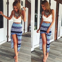Women Sexy Deep V-neck Tank Top Floral Print Asymmetrical Skirt Casual Beach Dress = 5737829185