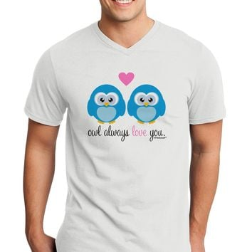 Owl Always Love You - Blue Owls Adult V-Neck T-shirt by TooLoud