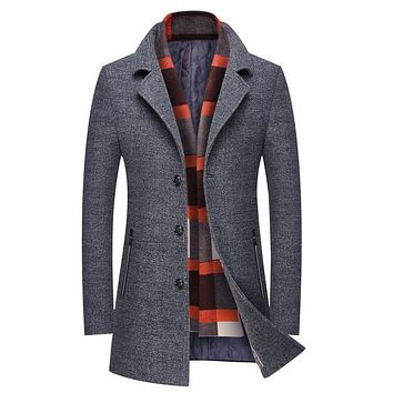 Autumn Winter Men's Jacket Business Casual Warm Men Wool Coat Slim Medium Long Overcoat