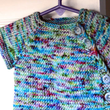 Multicolored Knit Baby Sweater- Newborn Baby Sweater with Buttons
