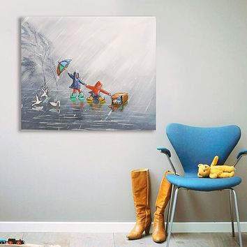 Modern Abstract Canvas Painting Frameless Wall Art Kids Bedroom Living Room Home Decor