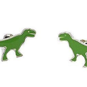 Basket Hill Watches and Gifts Green Dinosaur Post Earrings