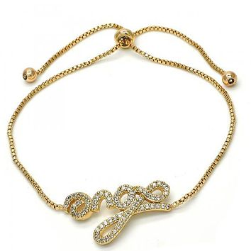Gold Layered 03.213.0057.10 Fancy Bracelet, Love Design, with White Cubic Zirconia, Polished Finish, Golden Tone