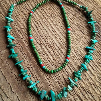 Turquoise Necklace, Long Necklace, Genuine Turquoise, Tribal Style, Layering Necklace, Reversible Necklace, Bohemian Jewelry