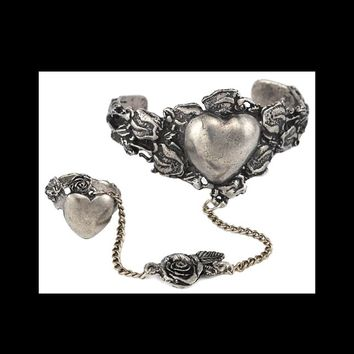 Celtic Heart Slave Bracelet with Ring