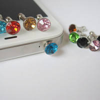 Birthstone gems - iPhone earphone plug dust plug - Pick your color