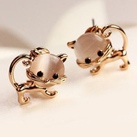 Mini Gold Kitten Earrings