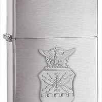 Zippo Air Force Crest Emblem Brushed Chrome Lighter