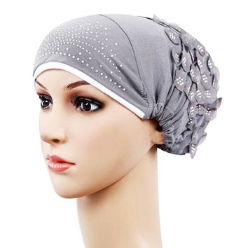 FEITONG Women's hats Casual Muslim Stretch Turban Hat Chemo Cap Hair Loss Head Scarf Wrap Hijib Cap High Quality Floral caps
