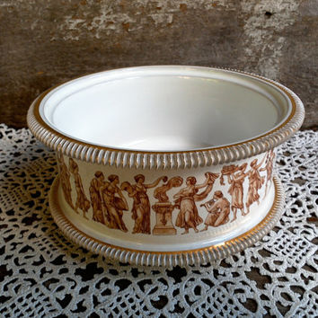 ITALY FIORENTINE, Open Bowl, Open Casserole Dish, Planter, Porcelain, Gold Brown Transferware, Serving, Holiday, Buffet Dish, Egyptian, Rome
