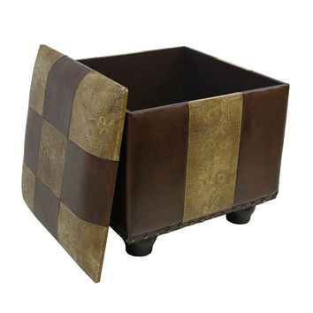 Square Faux Leather Ottoman w/Lid