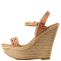 Peach Braided Laser-Cut Platform Wedge Sandals by Charlotte Russe