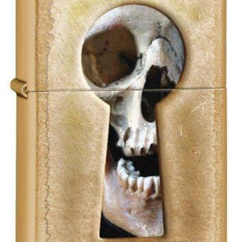 Street Golden Brass Finish Zippo Gold Dust Keyhole Skull Windproof Lighter