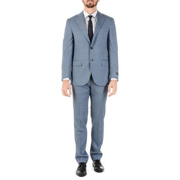 Corneliani Mens Suit Long Sleeves Light Blue Super 110's