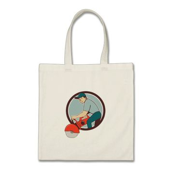 Construction Worker Concrete Saw Cutter Cartoon Tote Bag