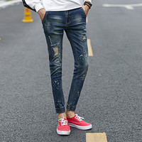 Korean Ripped Holes Men Cotton Stretch Slim Denim Pants Jeans [6528729539]