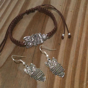 Boho Owl Bracelet and Earrings Set You Choose Color