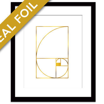 Golden Ratio Art Print - Gold Foil Print - Math Art Print - Math Wall Art - Geometric Art - Fibonacci Sequence Art Print - Math Teacher Gift