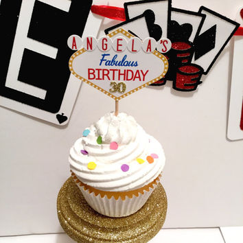 Las Vegas Cupcake Toppers | Vegas Theme Decor | Casino Theme | Vegas Birthday | Game Night