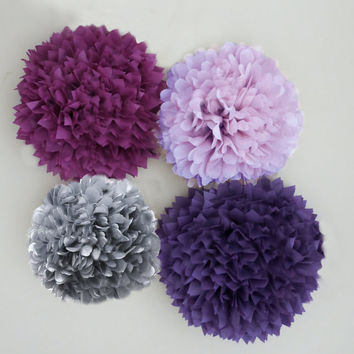 Purple, Lilac, Plum and Silver/Grey Tissue Paper Pom Poms 4 Piece Set, Weddings, Bridal Shower, Birthday, Nursery, Party Decorations