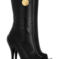 Versace Nappa leather peep-toe boots – 50% at THE OUTNET.COM