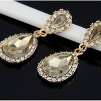 High Quality Emerald Crystal Champagne Rhinestone Earrings