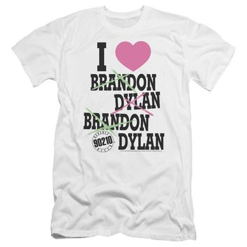 90210 Premium Canvas T-Shirt I Love Brandon and Dylan White Tee
