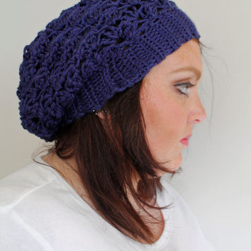 Crochet Slouchy Hat, Crochet Slouchy Beanie, Crochet Beanie in Navy Blue, The Bailey Slouchy Beanie, Soft Acrylic