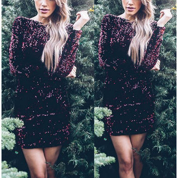 Sexy Long Sleeves Sequins Burgundy Short Cocktail Dresses 2016