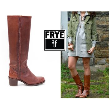 FRYE Boots Size 7.5 Braided Tall Campus Boots Womens Size 7 1/2